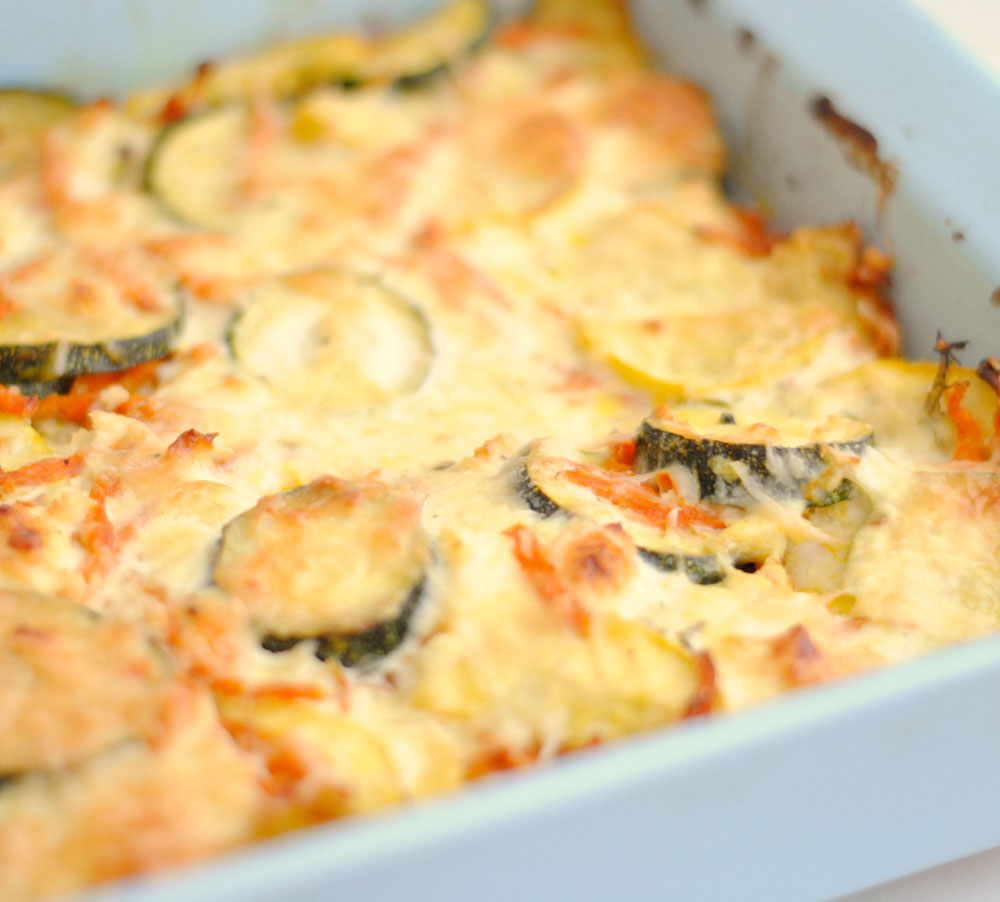 Squash and Carrot Casserole with Feta and Parmesan | Hottie Biscotti