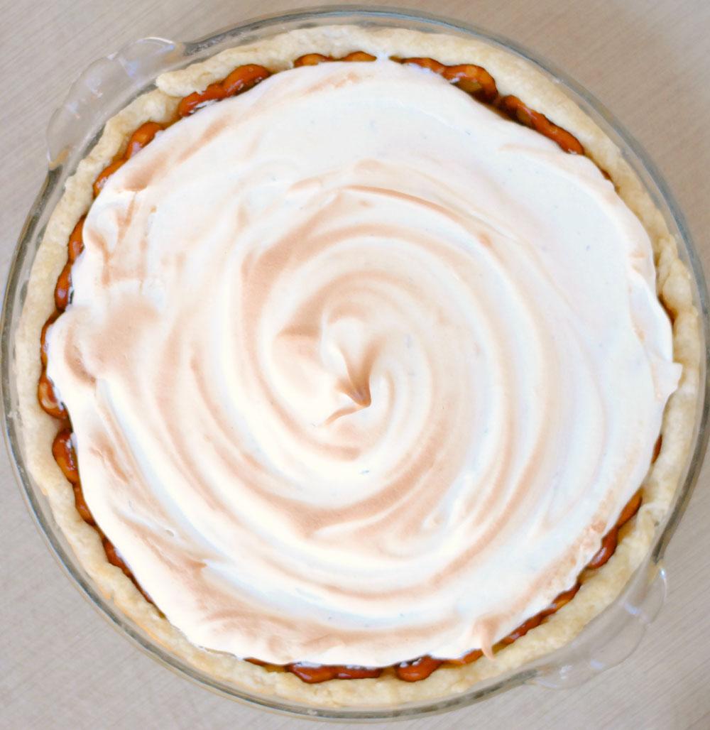 Butterscotch Pie with Thyme Meringue and Pretzel Crust | Hottie Biscotti